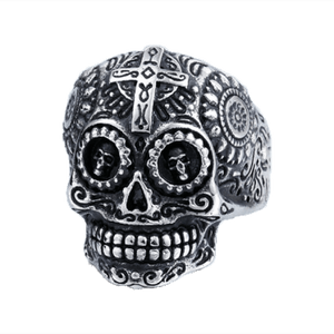 Green Eyes Sugar Skull Biker Ring