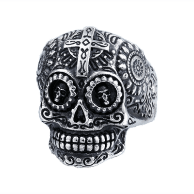Gothic Carved-Mens Skull Biker Ring-Rear Tone