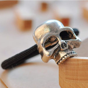3 Set Silver Skull Hair Ties