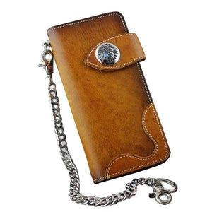 Brown Indian Concho Leather Chain Wallet