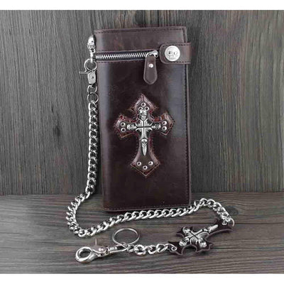 Large Skulls Cross-Biker Wallets-Dark Brown-Rear Tone