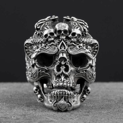 Open Sterling-Mens Skull Biker Ring-Adjustable-Sterling Silver-Rear Tone