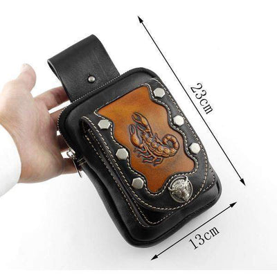 Scorpion Pouch-Biker Wallets-Black/Brown-Rear Tone