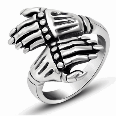Skeleton Hand-Mens Skull Biker Ring-7-Silver-Rear Tone