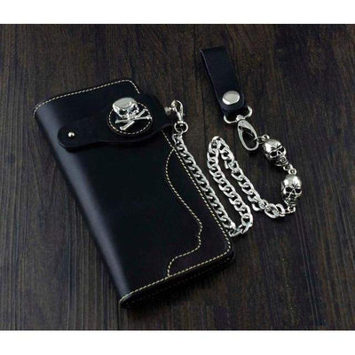 Skull Concho-Biker Wallets-Black-Rear Tone