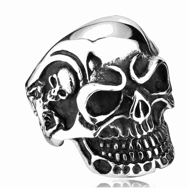 Skull Ring Classic-Mens Skull Biker Ring-7-Silver-Rear Tone