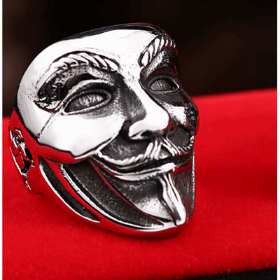 Stainless Mask-Mens Skull Biker Ring-7-Silver-Rear Tone