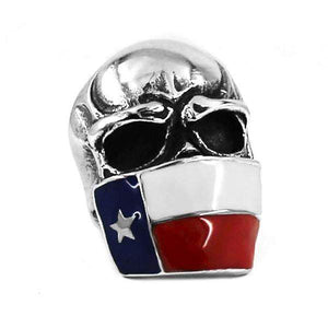 Steel Texas Flag Skull Ring