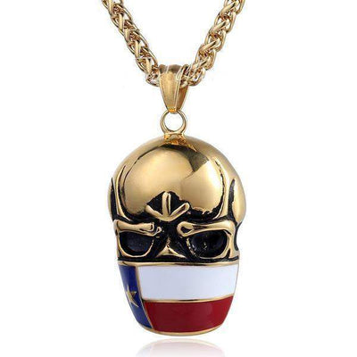 Texas Flag Skull Pendants