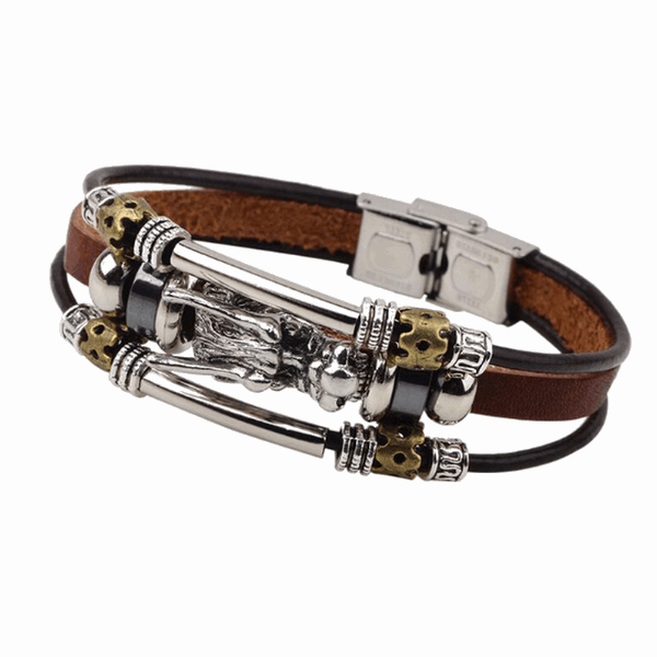 Leather and Steel Tibetan Bracelet