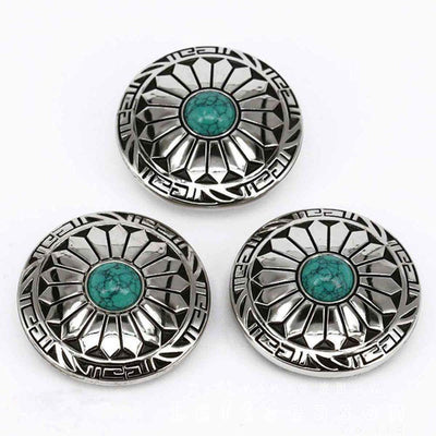 Turquoise Conchos-Wallet Accessories-Rear Tone