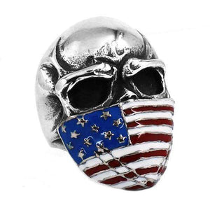 USA Flag Skull Ring
