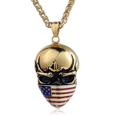 USA Flag Skull Pendants