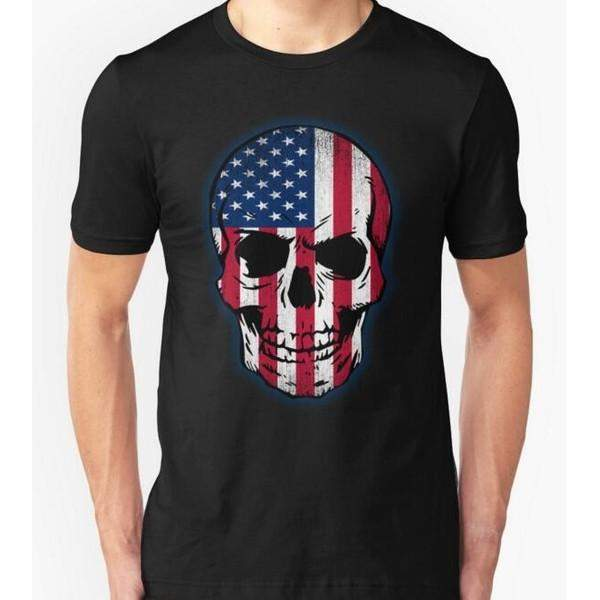 USA Flag Skull T-Shirts