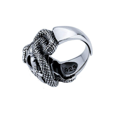 Wrap Cobra Sterling-Mens Skull Biker Ring-Re-Sizeable-Sterling Silver-Rear Tone