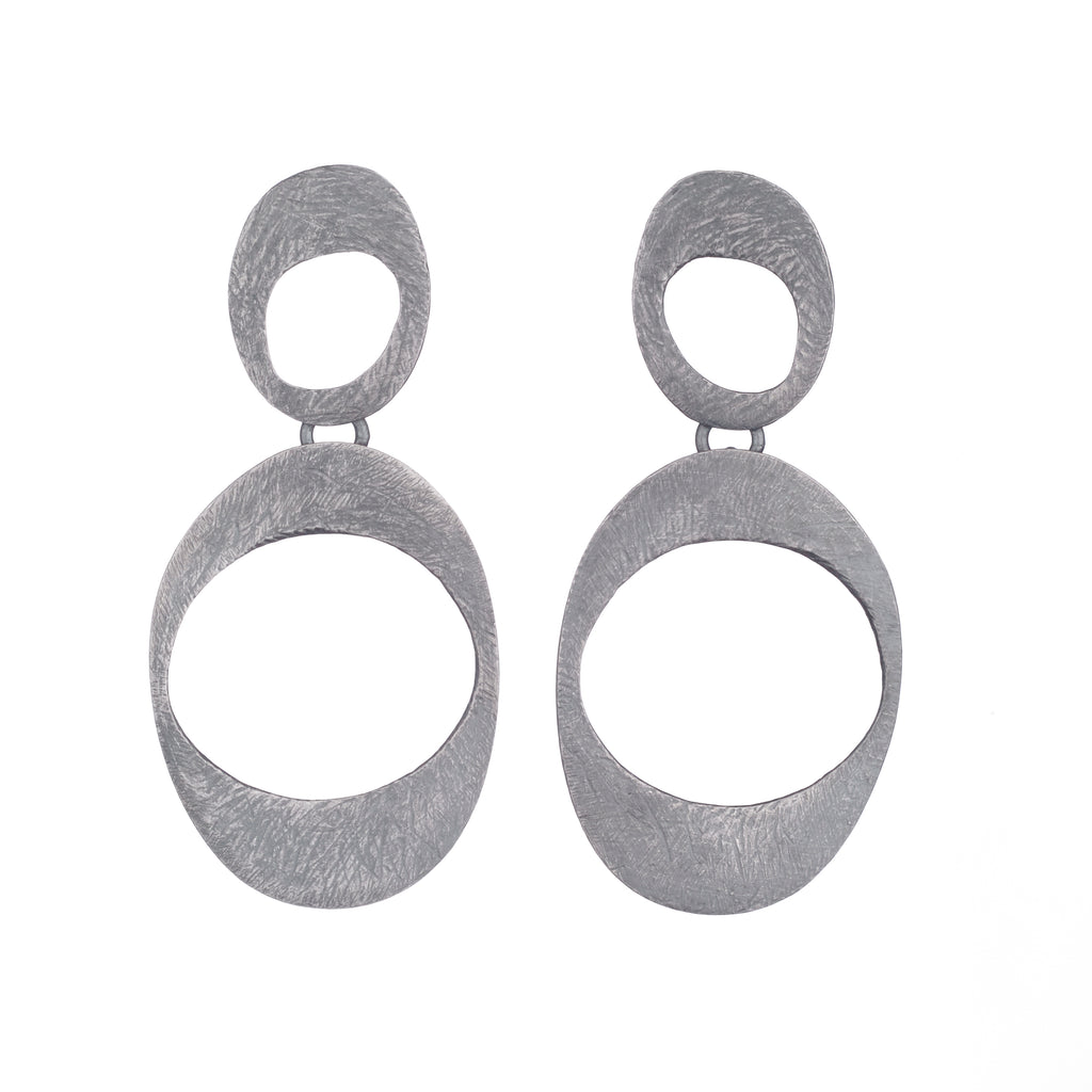 Carved Open Organic Ovals Earrings