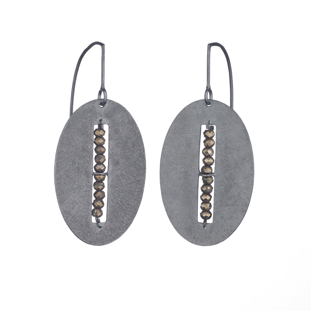 Large Carved Oval Segment Earrings