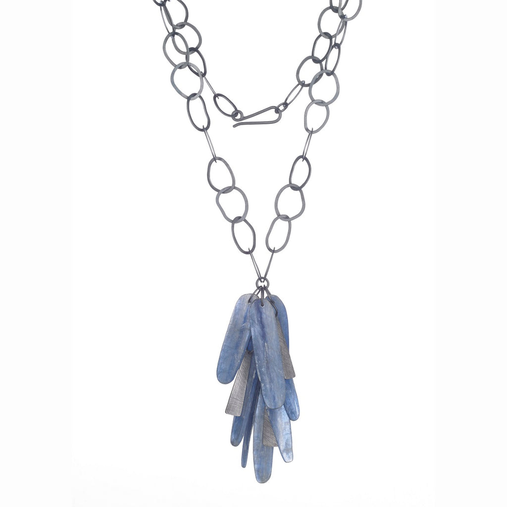 Carved Kyanite Cluster Necklace