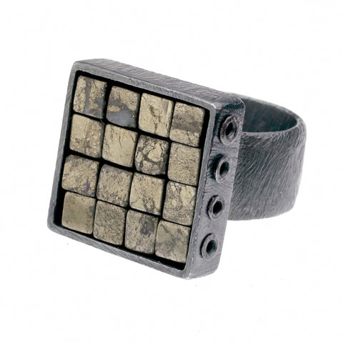 carved 4x4 grid ring