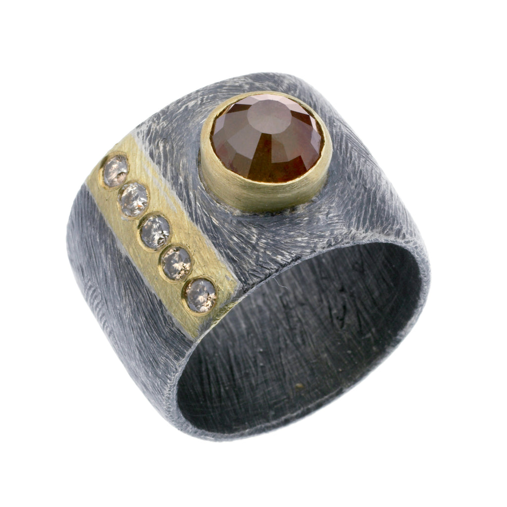 15mm carved vertical stripe ring