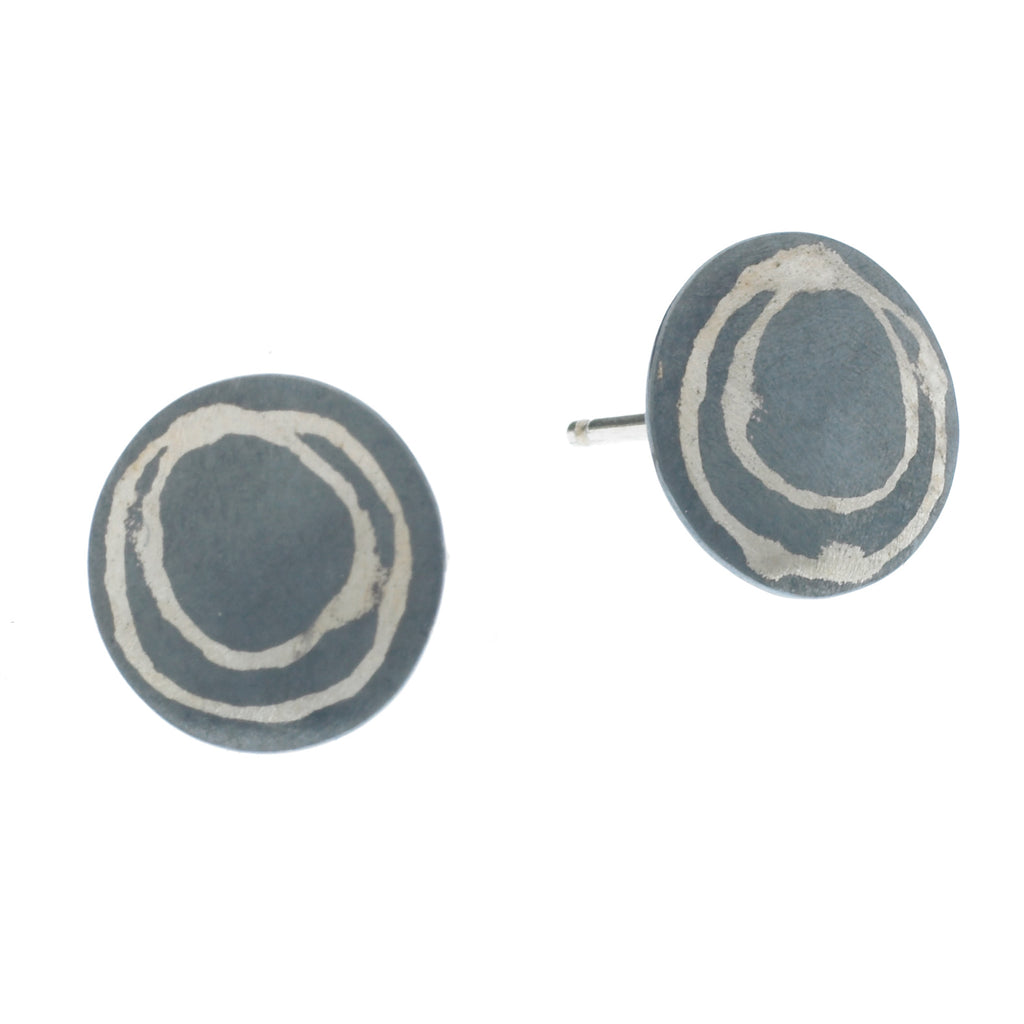 scribble circle post earrings