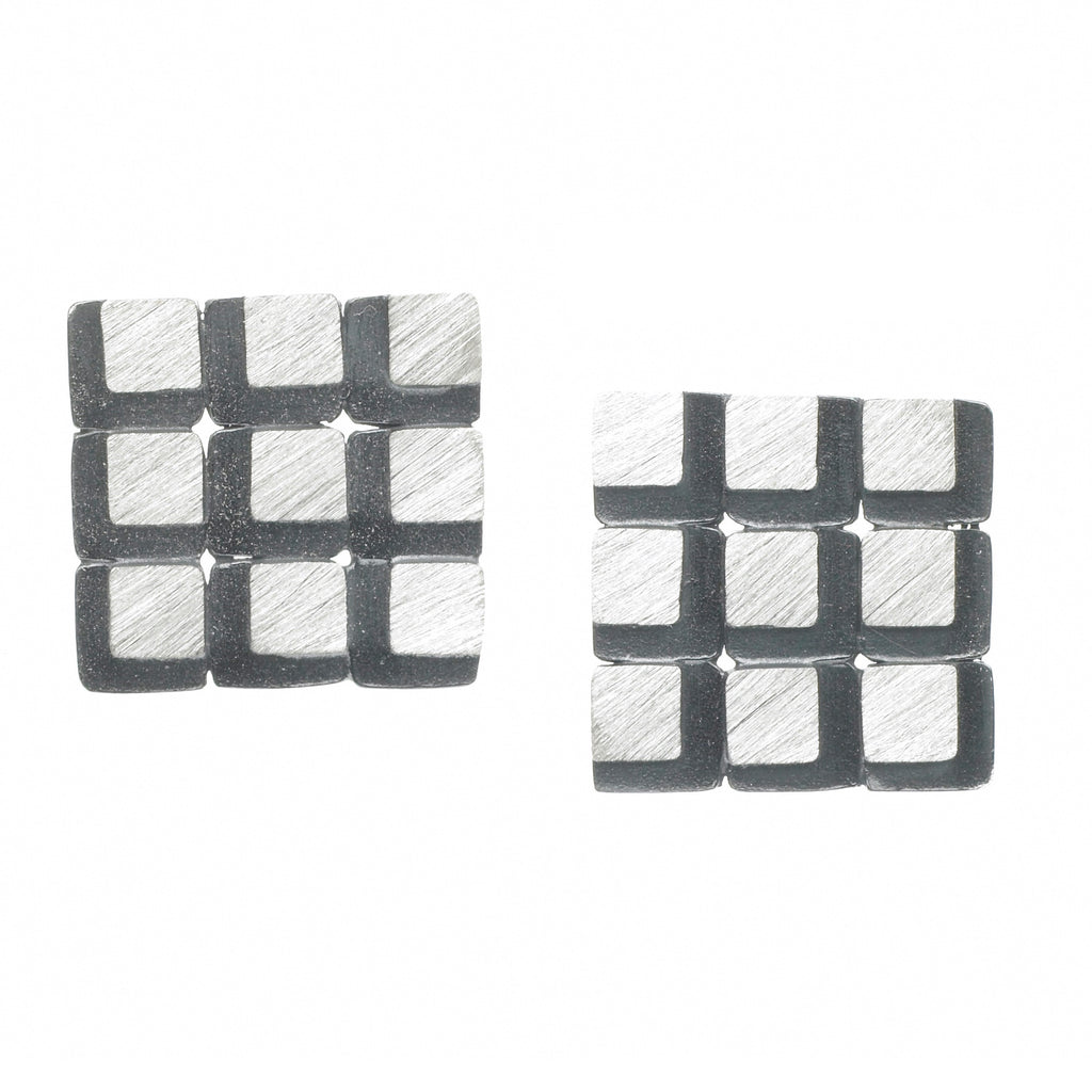 eclipse 3x3 square grid earrings