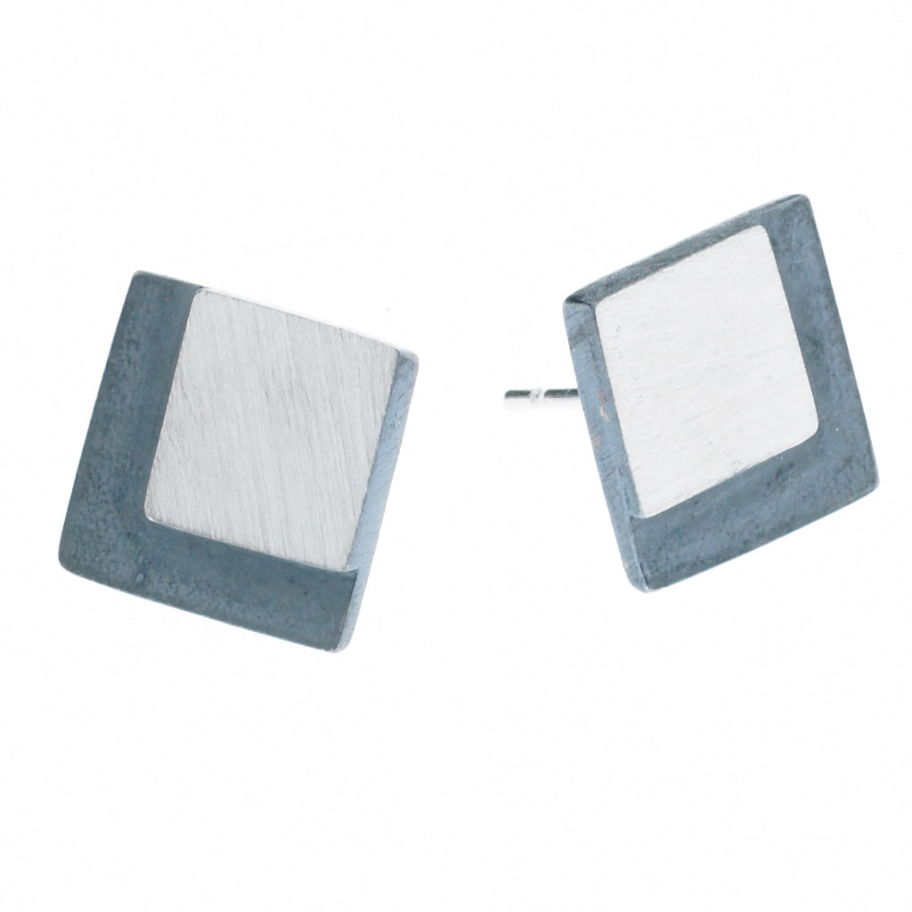 eclipse large square post earrings