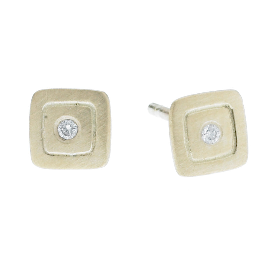 scribble small square post earrings