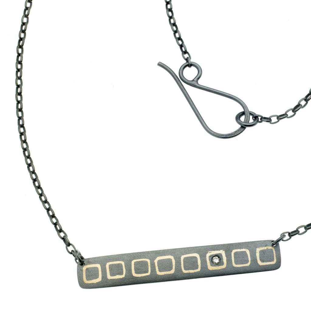 scribble square bar necklace