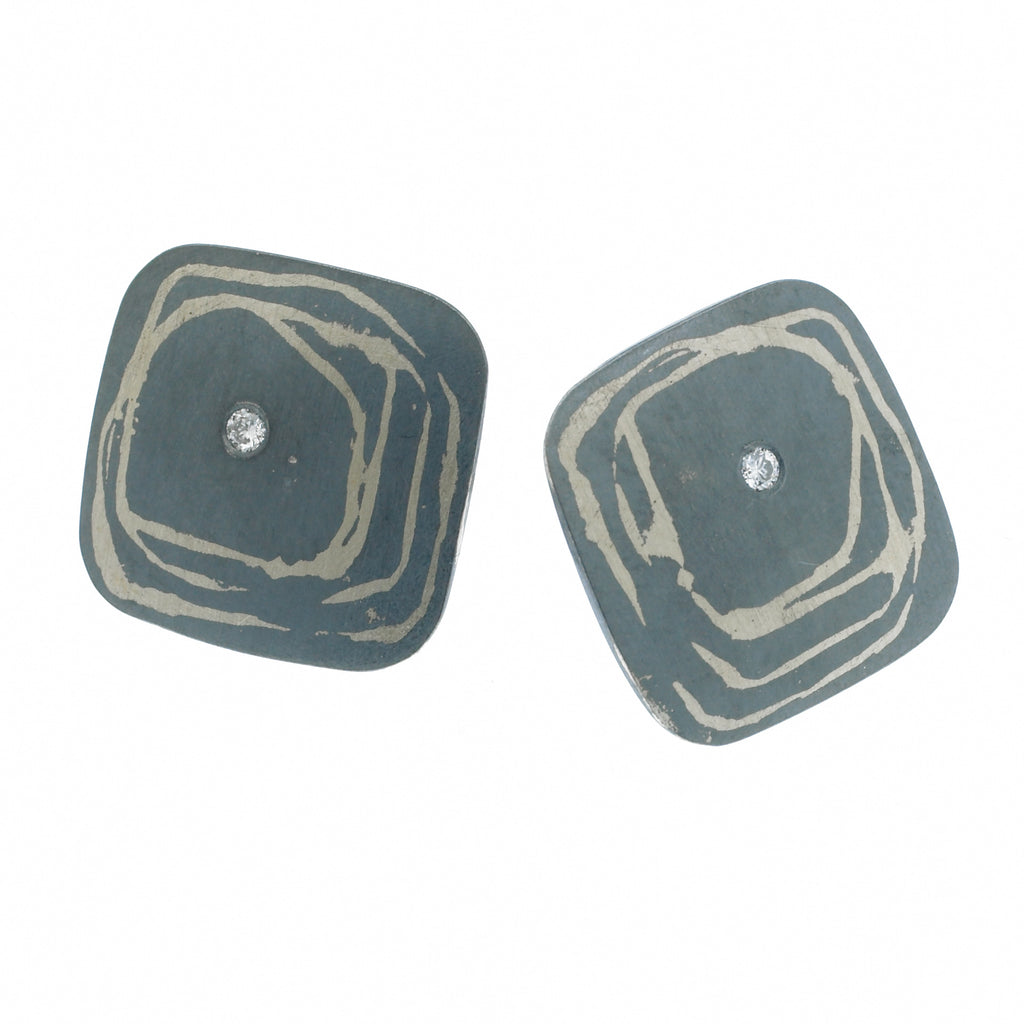 scribble large square post earrings