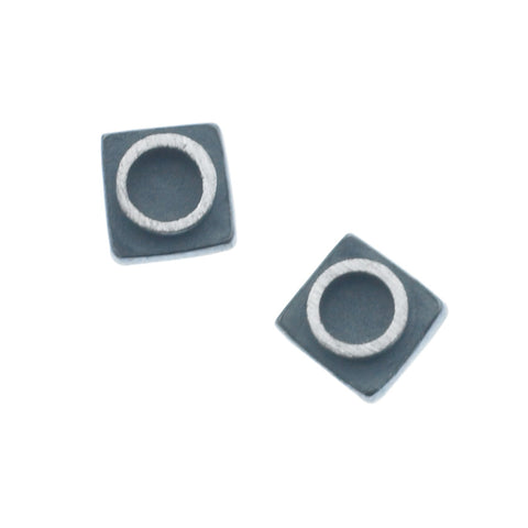 eclipse small circle in square earrings