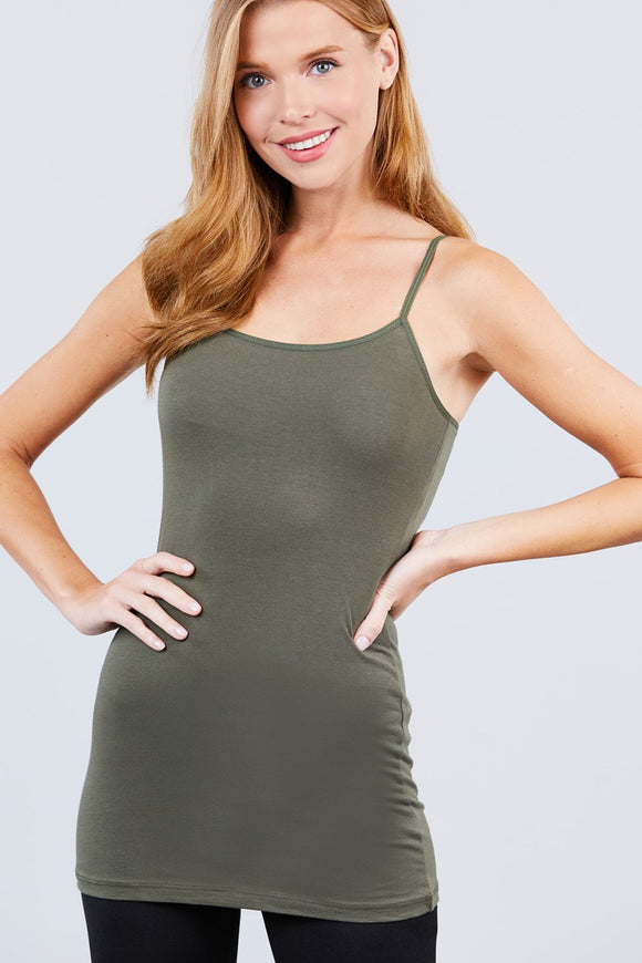 Basic Adjustable Spaghetti Strap Tunic Cami W/ Shelf Bra