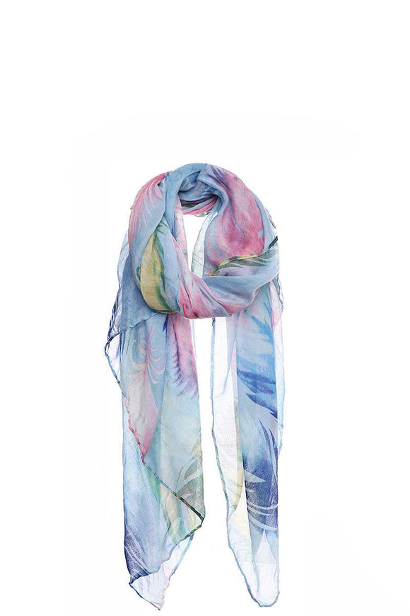 Chic Soft Multi Color Feather Print Scarf