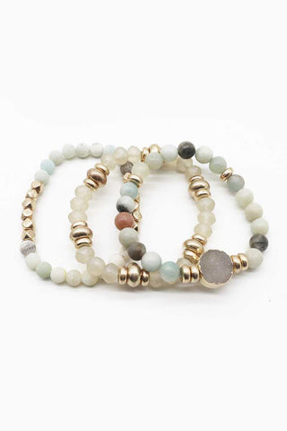 Natural Stone Bead Stretch Multi Bracelet