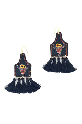 Stylish Western Cow Skull And Tassel Drop Earring