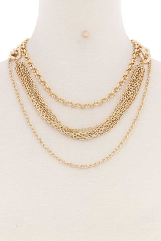 Layered Metal Multi Chain Necklace