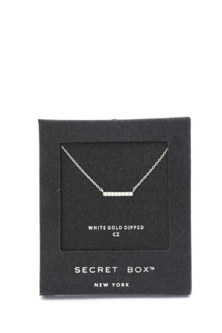 Secret Box Cubic Zirconia Bar Necklace