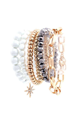 Pearl Metal Glass Stretch Bead Multi Bracelet 6 Pc Set