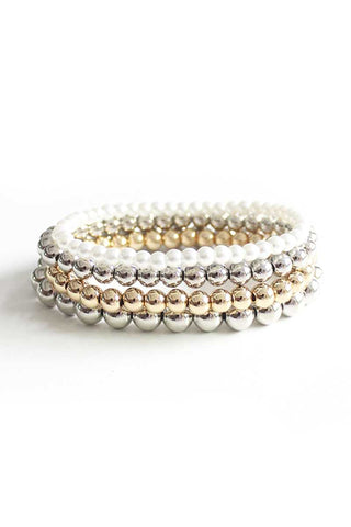Metal Pearl Bead Stretch Bracelet 4 Pc Set