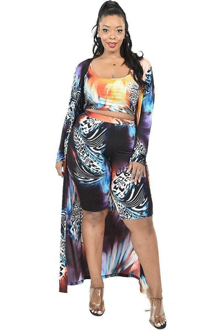Plus Animal Color Printed 3 Piece Short Set