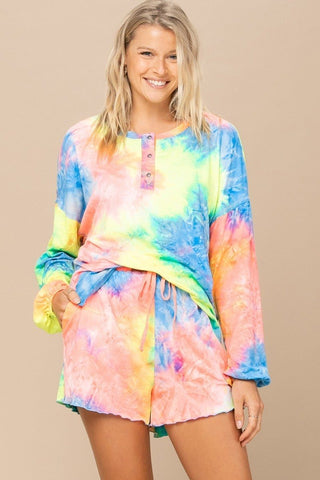 Tie-dye Printed Knit Top And Shorts Set