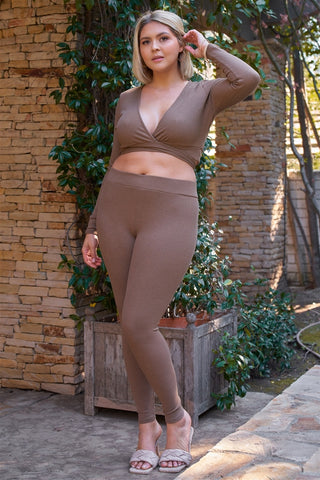 Plus Mocha Plunge Neck Long Sleeve Self-tie Back Or Front Waist Top & High-waisted Skinny Pants Set