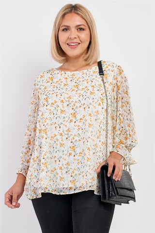 Plus Size Ivory Yellow Floral Print Relaxed Fit Draw String Self Tie Puff Midi Sleeve Top