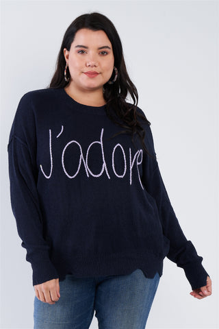 "Plus Size ""j'adore"" Script Knit Relaxed Fit Sweater"