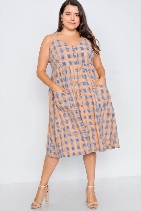 Plus Size Orange Plaid V-neck Midi Dress
