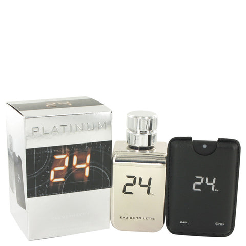 24 Platinum The Fragrance by ScentStory Eau De Toilette Spray + 0.8 oz Mini Pocket Spray 3.4 oz