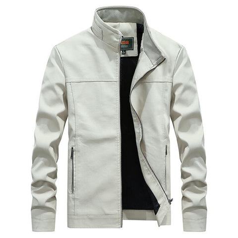 Whiter leather jacket motorcycle noble deportes cardigan jackets
