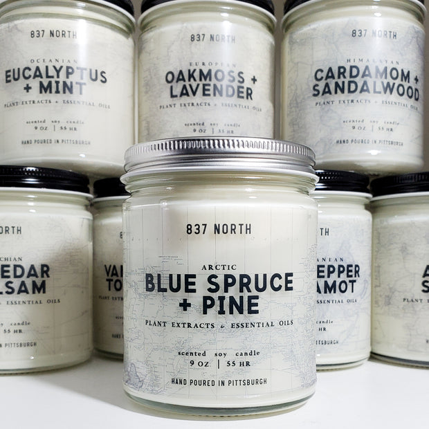 Blue Spruce + Pine, 9 oz. Soy Candle