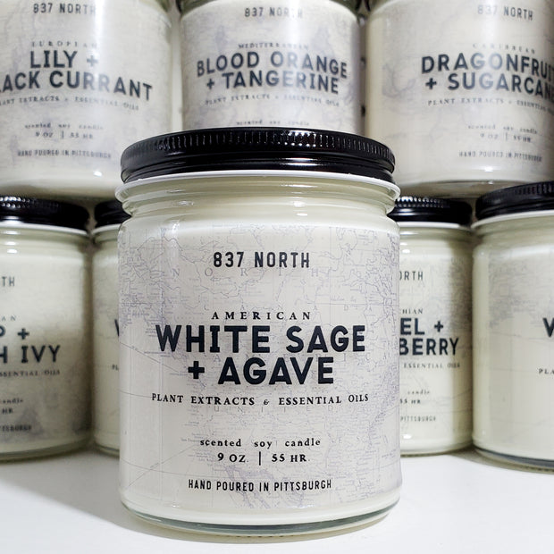 White Sage + Agave, 9 oz. Soy Candle