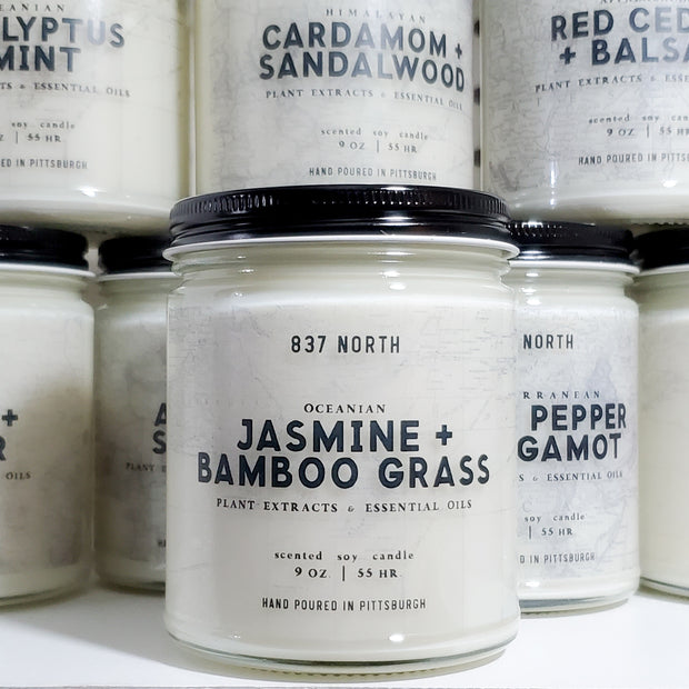 Jasmine + Bamboo Grass, 9 oz. Soy Candle
